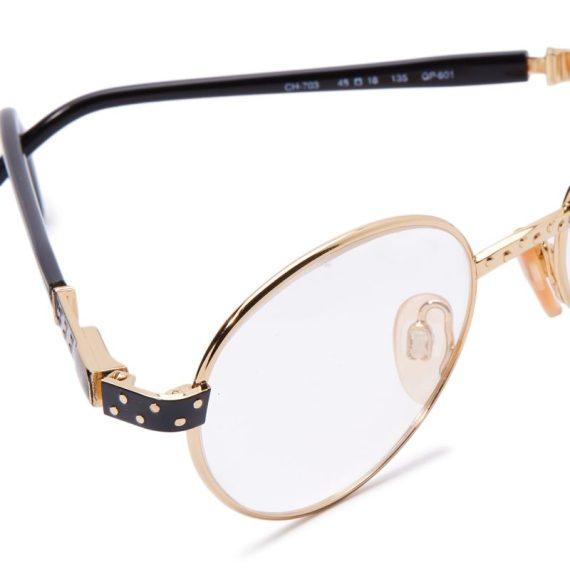 Carolina Herrera Oval Eyeglasses Frame for Unisex Black / Gold Plated