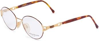 Carolina Herrera Oval Eyeglasses Frame for Unisex Gold Plated / Brown