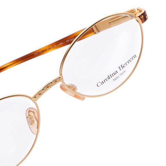 Carolina Herrera Oval Eyeglasses Frame for Unisex Gold Plated / Havana
