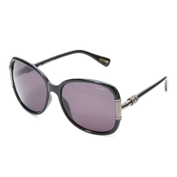 Lanvin Oval Shape Wrap Women's Sunglasses Black Frame and Lens Color G