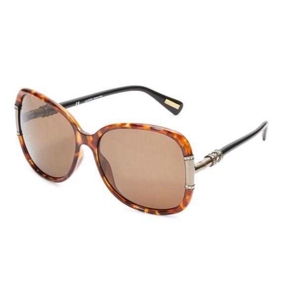 Lanvin Oval Shape Wrap Women's Sunglasses Havana Brown Frame and Lens