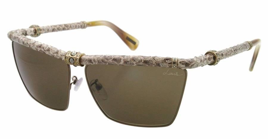 Lanvin Women's Gold Leather Metal Rectangular Sunglasses SNL001S-62-S2