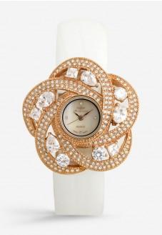 Mon Grandeur Women's Champagne Dial Leather Band Fancy Watch GR-IN8234