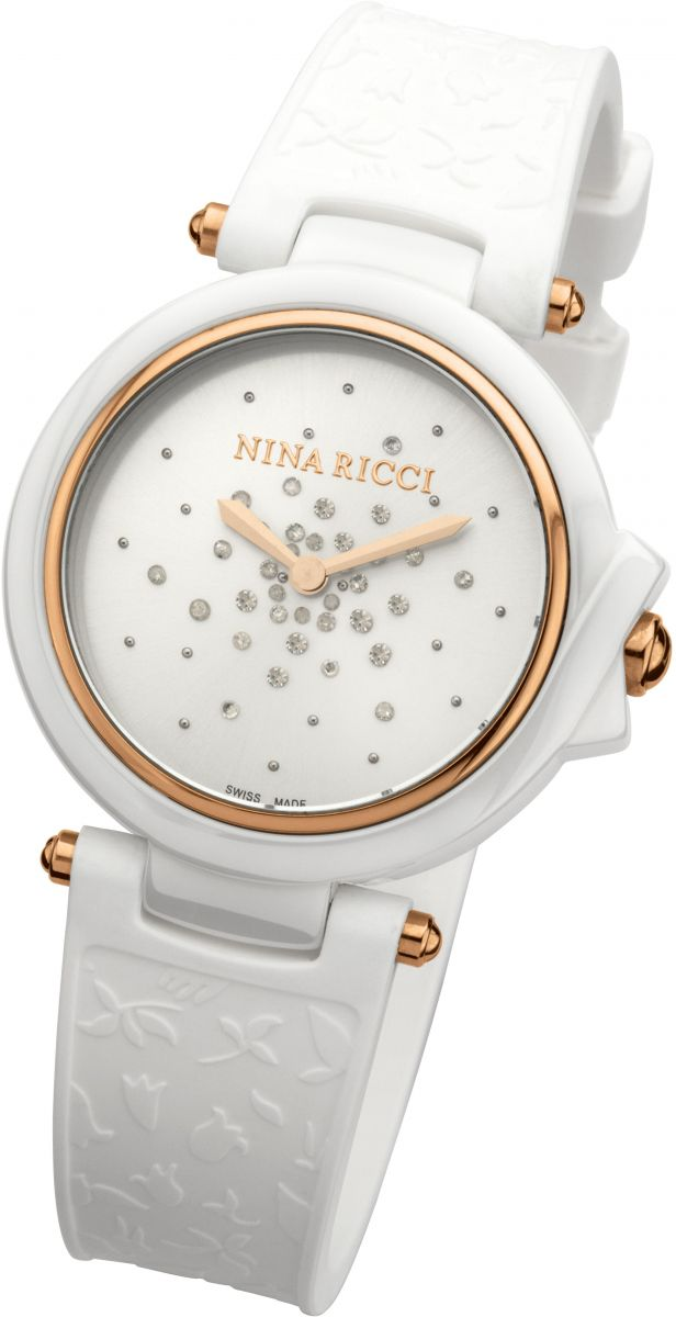 Nina Ricci Swiss Made White Ceramic Case White Texture Dial With 34 Di