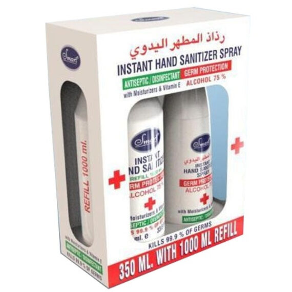 Smart Instant Hand Sanitizer Spray - 350ml with 1000ml Refill (UAE Del