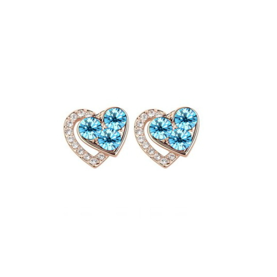 Swarovski Elements 18K Gold Plated Earrings Encrusted with Light Blue