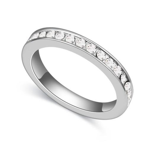 Swarovski Elements 18K White Gold Plated 1 cm Ring