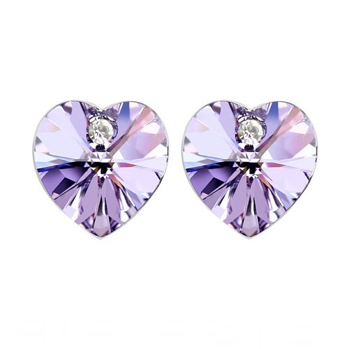 Swarovski Elements 18K White Gold Plated Earrings Encrusted with Purpl