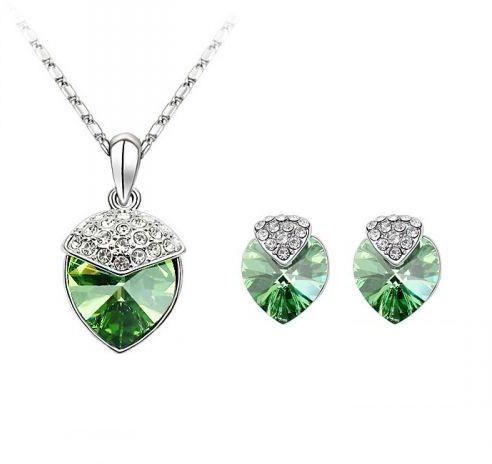 Swarovski Elements 18K White Gold Plated Jewelry Set Encrusted With Gr