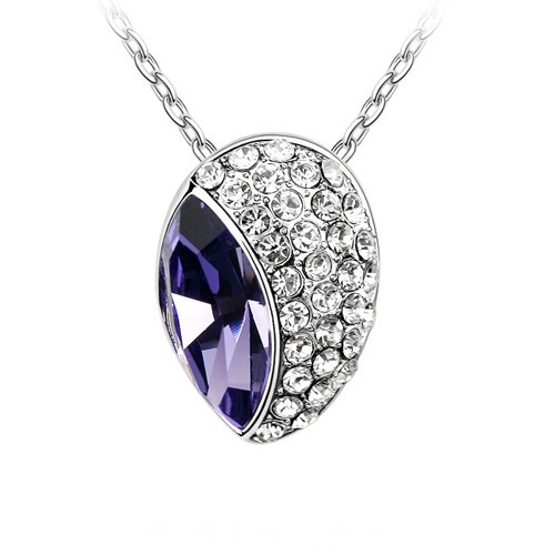 Swarovski Elements 18K White Gold Plated Necklace Encrusted with Purpl