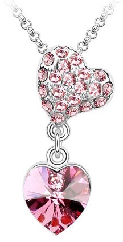 Swarovski Elements 18K White Gold Plated Necklace encrusted with Pink