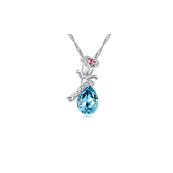 Swarovski Elements 18K White Gold Plated Rose Necklace Encrusted with