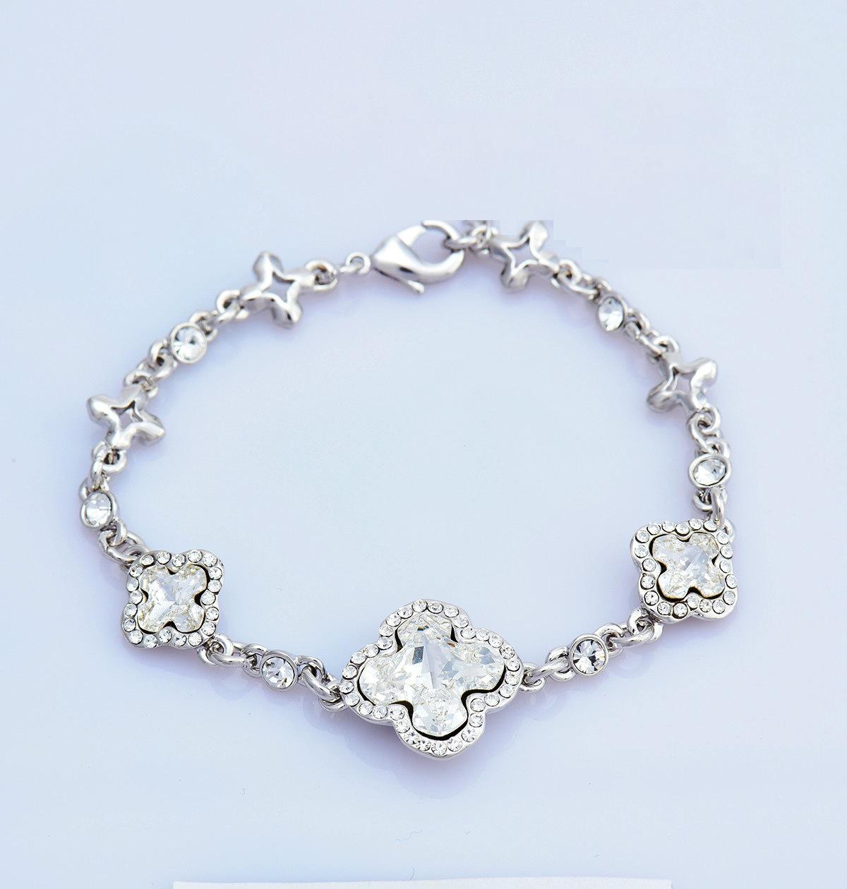 Swarovski Elements Women's 18K White Gold Plated Swarovski Crystal Sto